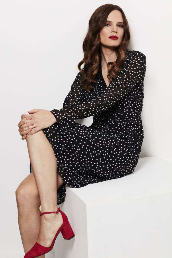 Black & White Spot Print Fit & Flare Dress