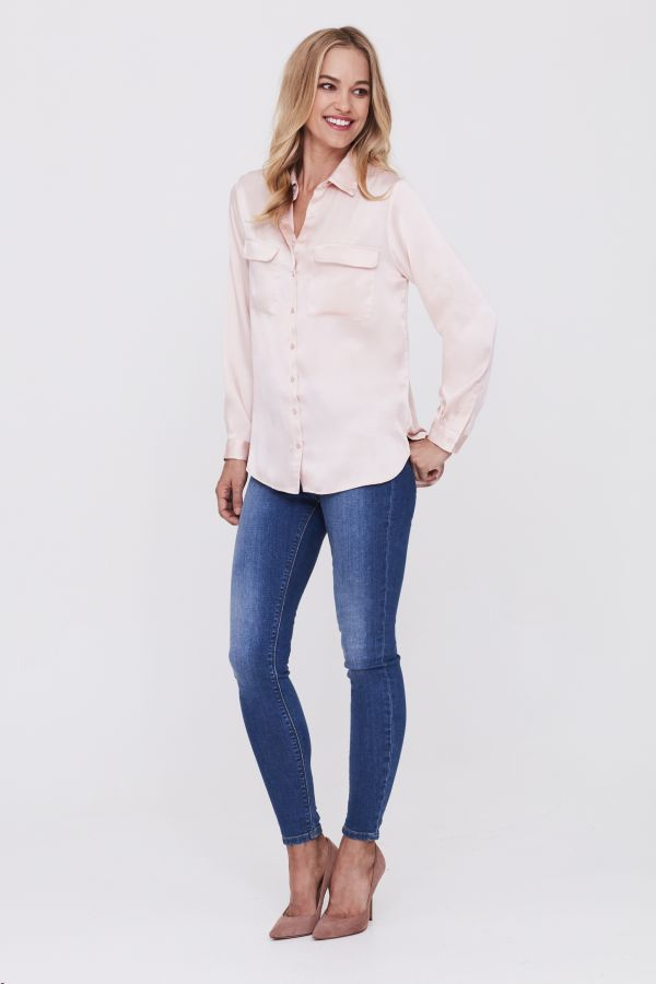 Blush Pink Satin Shirt with Patch Pockets