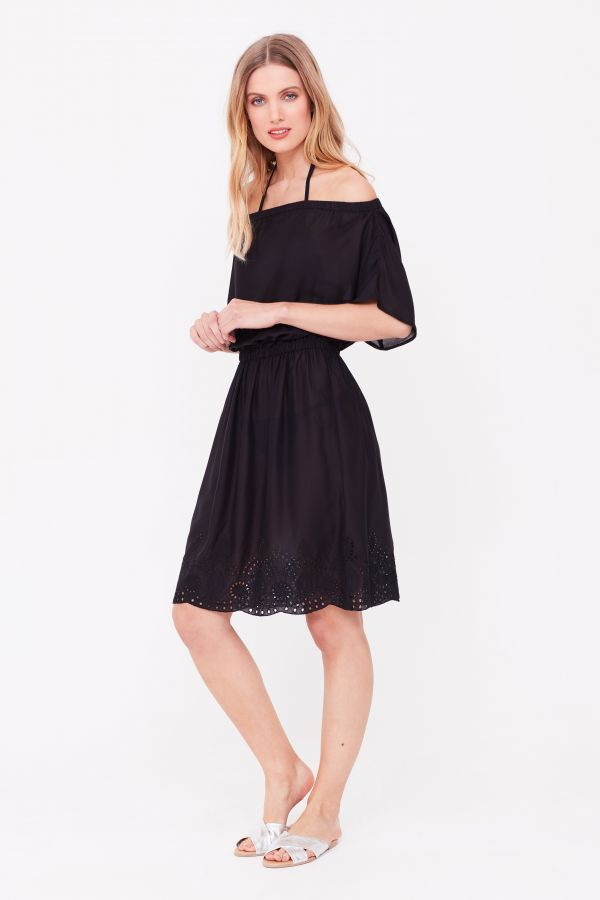 Black Embroidered Hem Bardot Beach Dress