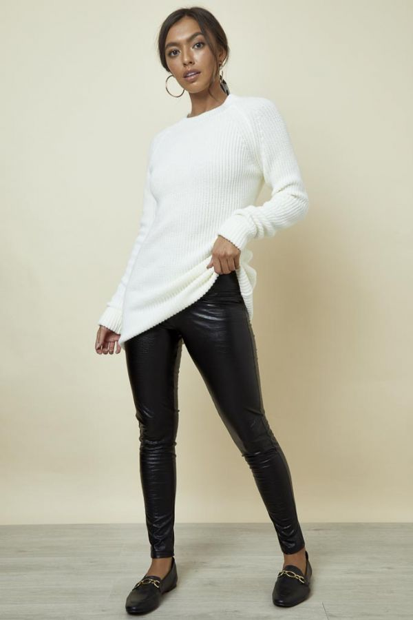 Black Croc Print Leather Look Legging