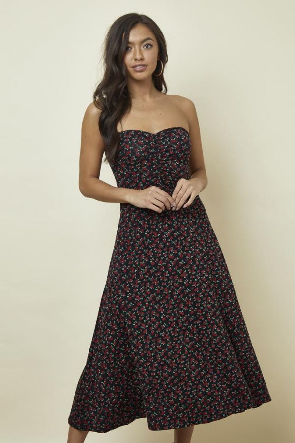Rose Bud Print Bandeau Dress