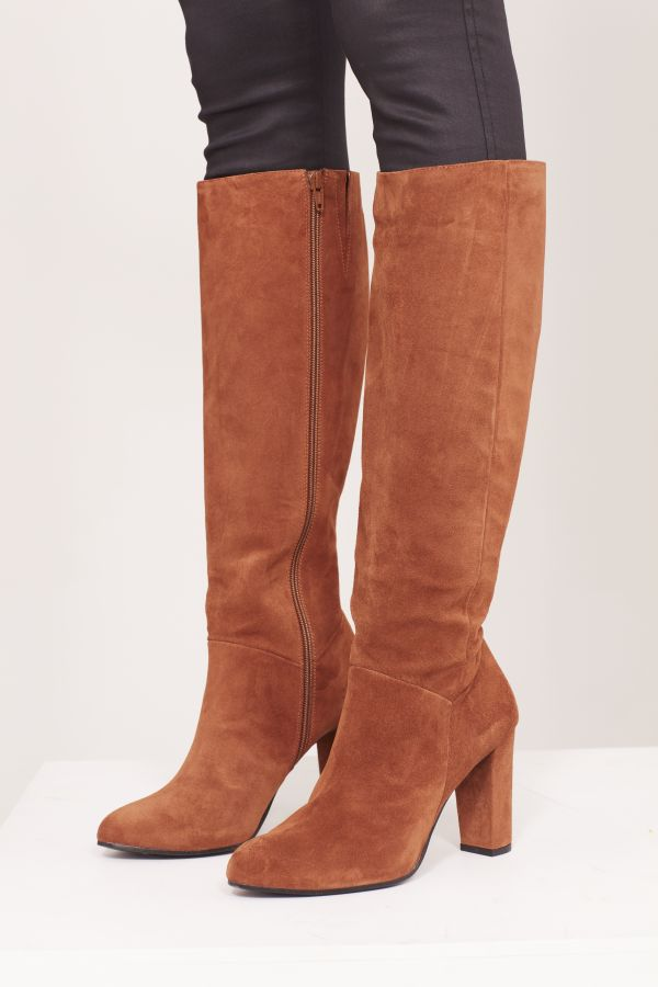 Cognac Brown Suede Zip Knee Boot