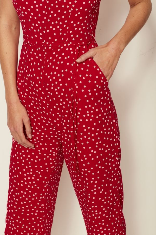 Red & White Spot Print Jumpsuit