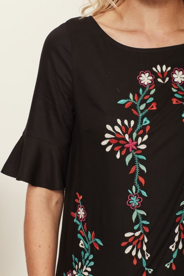 Black Flute Sleeve Embroidered Top