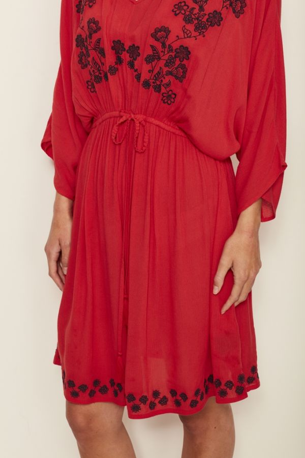 Red Embroidered Kimono Dress