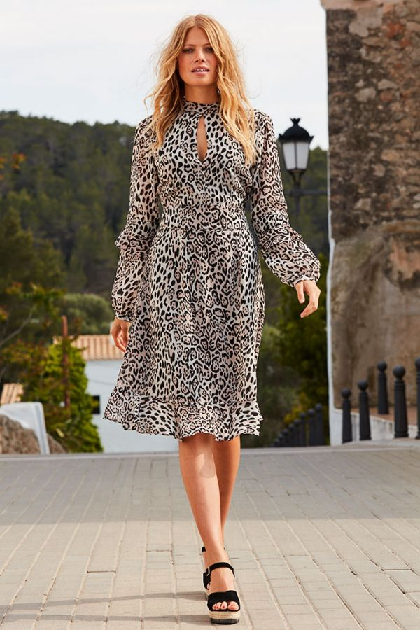 Leopard Print Fit & Flare Ruffle Dress