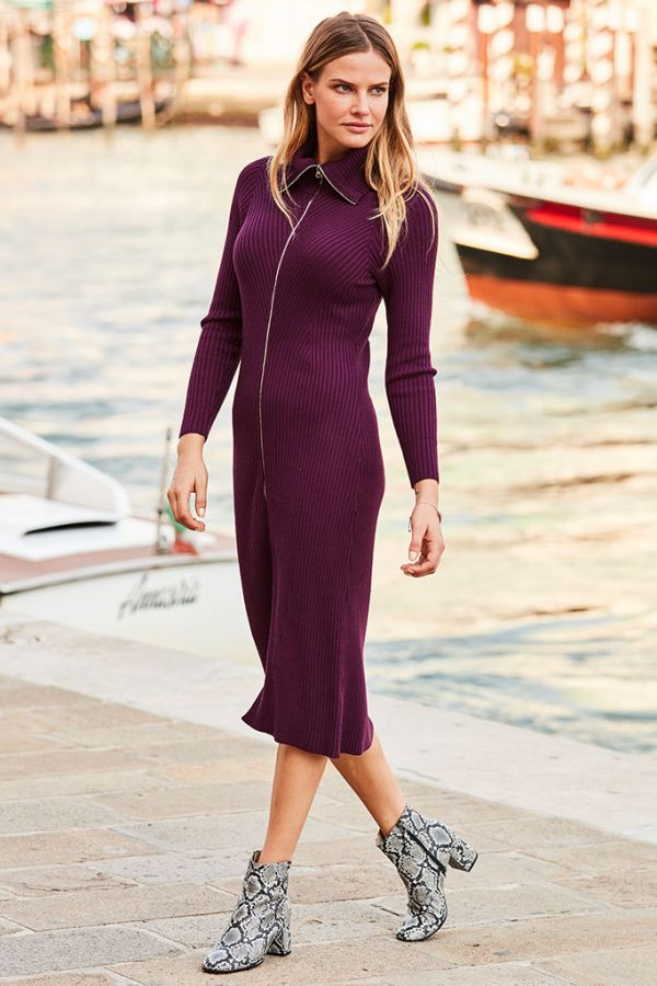 Mulberry Zip Front Knitted Dress