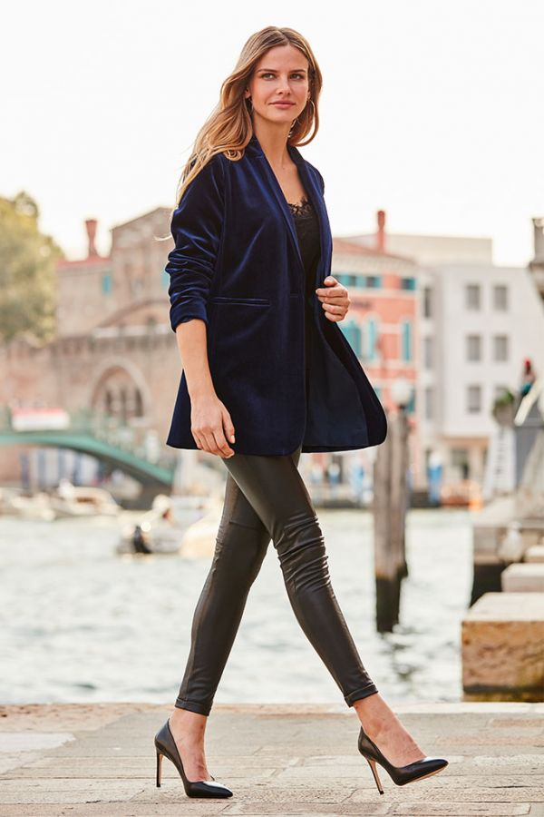 Navy Velvet Relaxed Fit Blazer