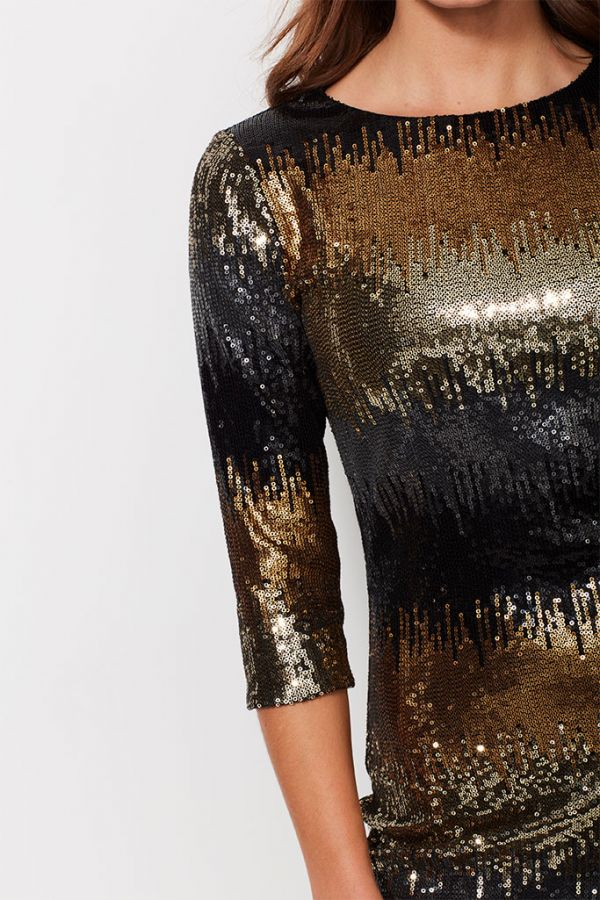 Golden Ombre Sequin Shift Dress