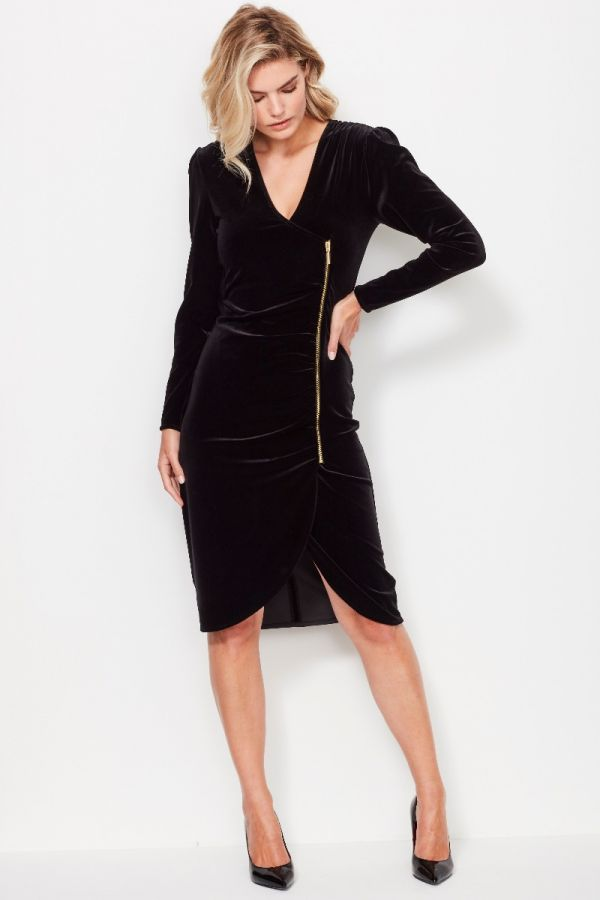 Black Velvet Side Zip Faux Wrap Dress