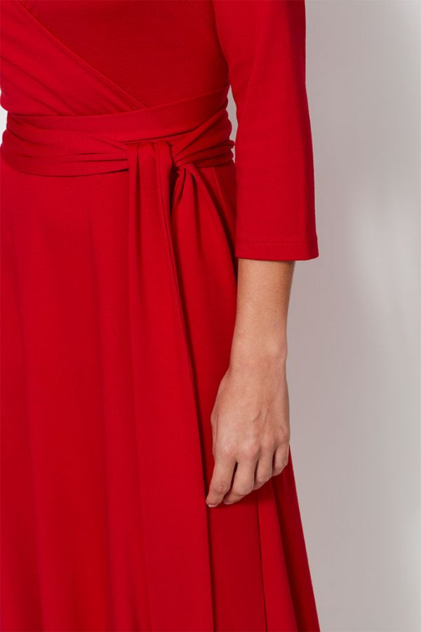 Red Faux Wrap Belted Dress
