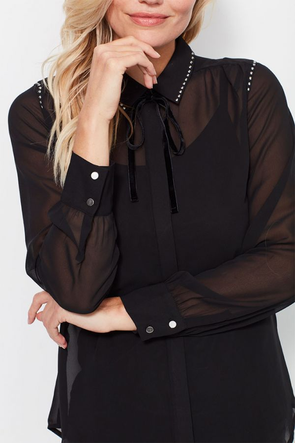 Black Studded Western Sheer Shirt