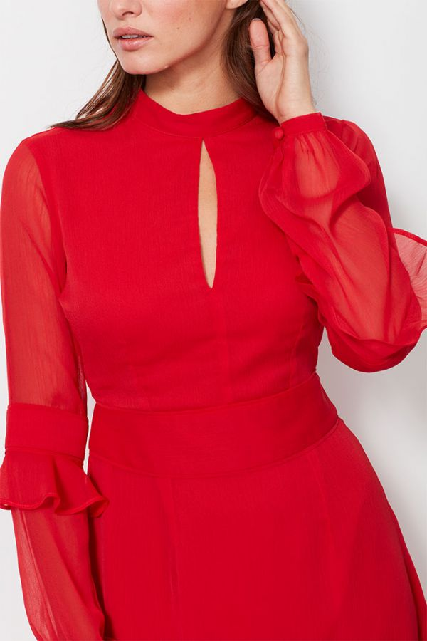 Red Fit & Flare Ruffle Dress