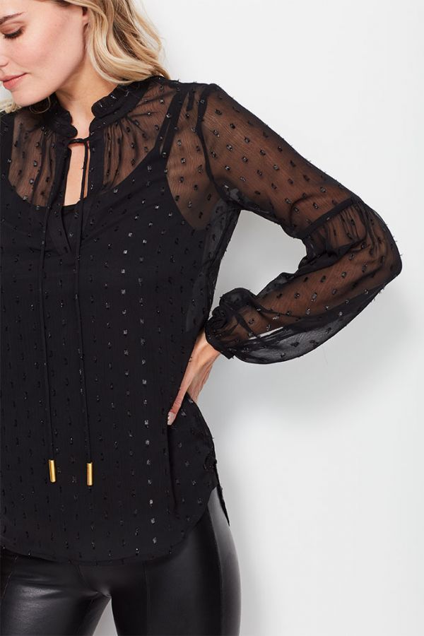 Black Lurex Spot Sheer Blouse