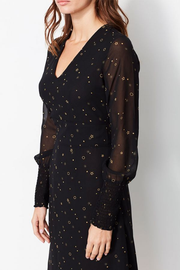 Black Circle & Star Print Fit & Flare Dress