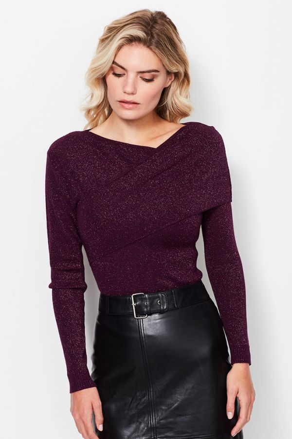Berry Lurex Crossover Jumper