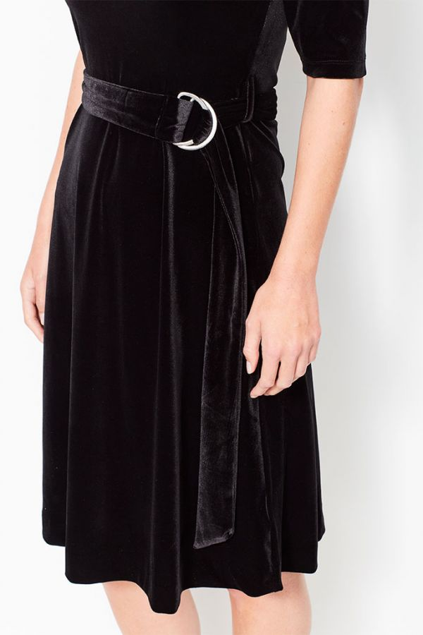 Black Velvet Belted Bardot Dress