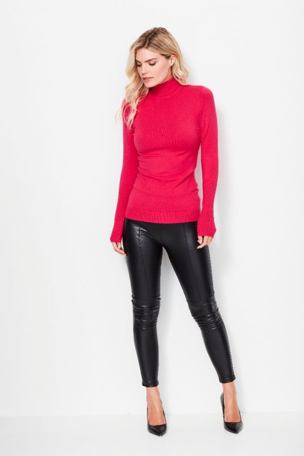 Hot Pink Polo Neck Fine Knit Jumper