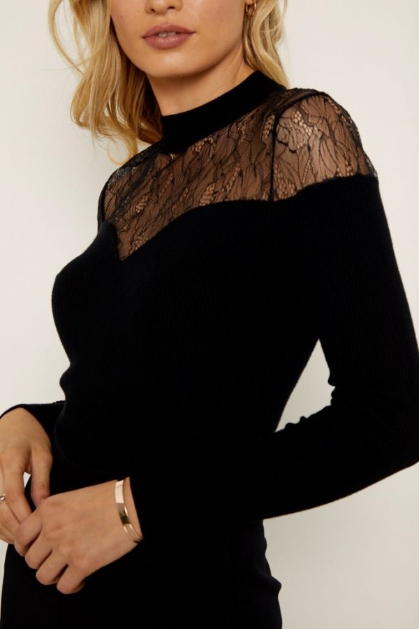 Black Lace Insert Sweetheart Neck Fine Knit Top