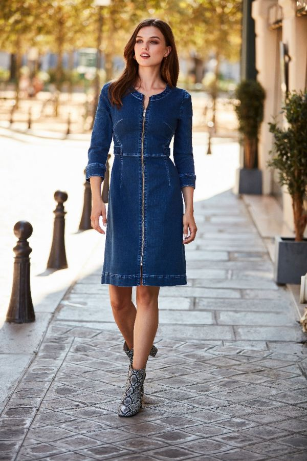 Indigo Blue Zip Front Collarless Denim Dress