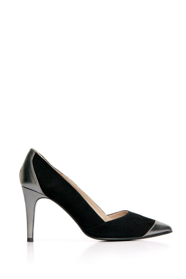 Black Suede and Pewter Metallic Court Shoe