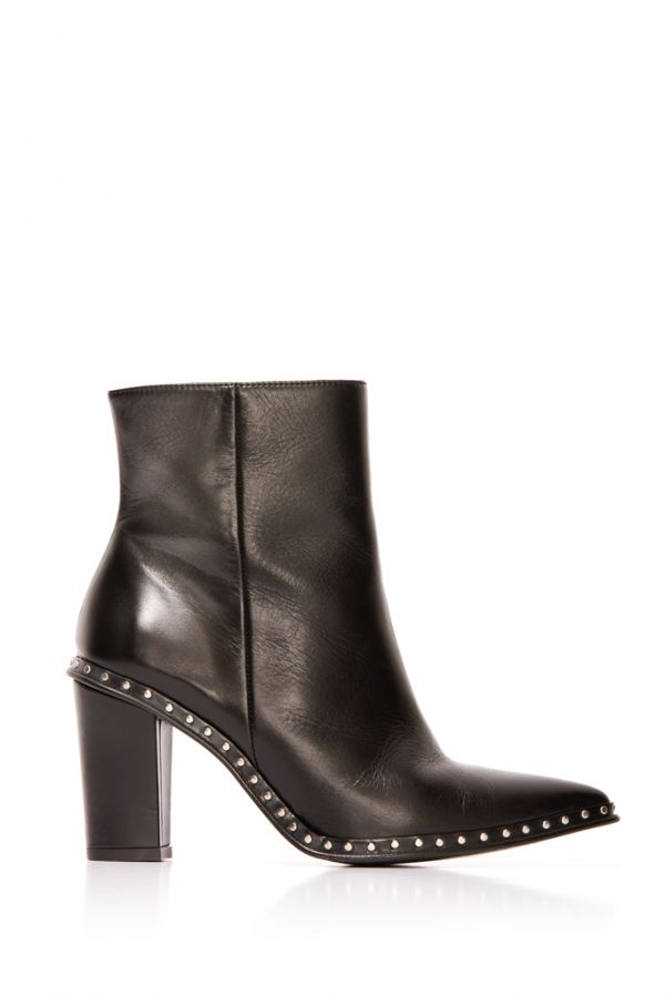 Black Leather Stud Detail Ankle Boot