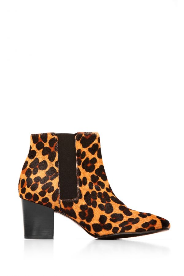 Leopard Print Leather Chelsea Boot