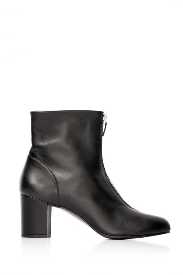 Black Leather Front Zip Ankle Boot