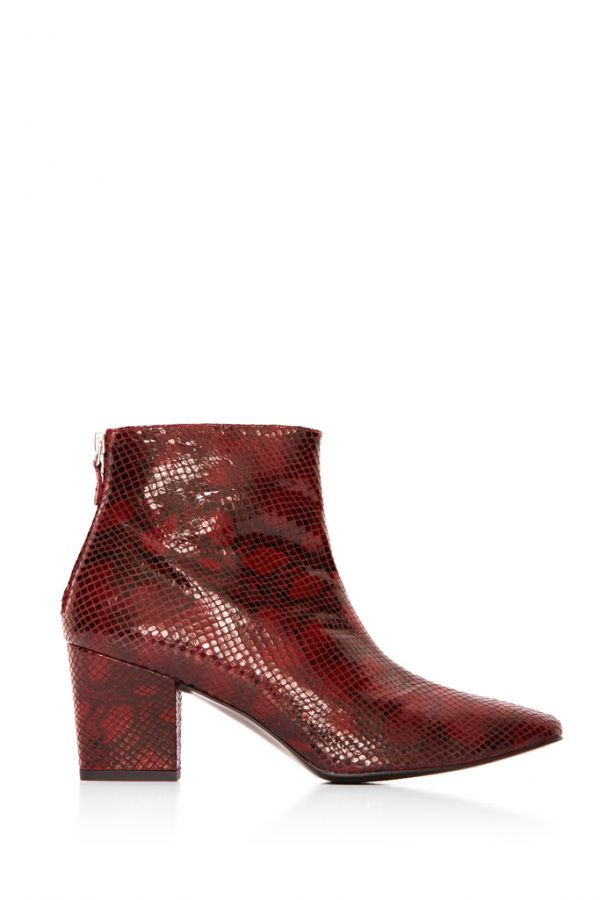 Deep Red Leather Snake Print Zip Ankle Boot