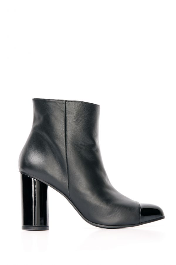 Black Leather Patent Toe Ankle Boot