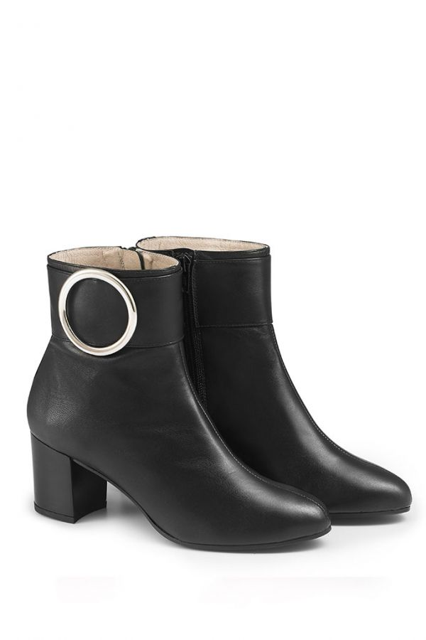 Black Leather Buckle Ankle Boot