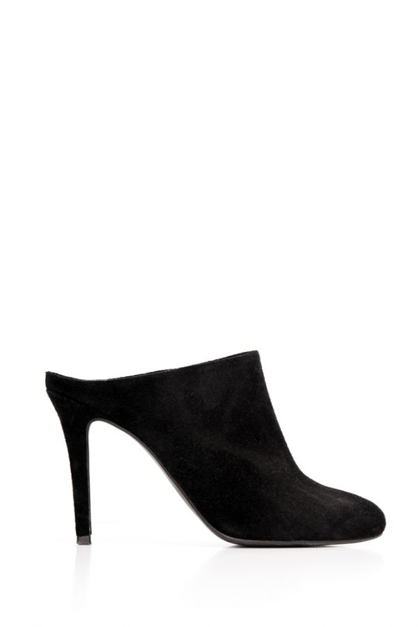 Black Suede Closed Toe Mule