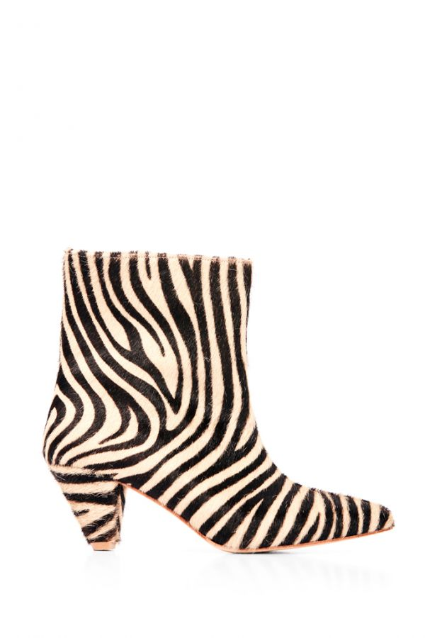Zebra Print Leather Pull On Ankle Boot