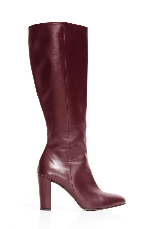 Burgundy Leather Zip Knee High Boot