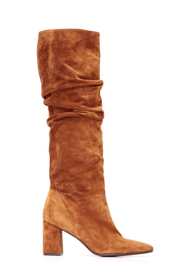 Cognac Brown Suede Pull On Knee High Boot