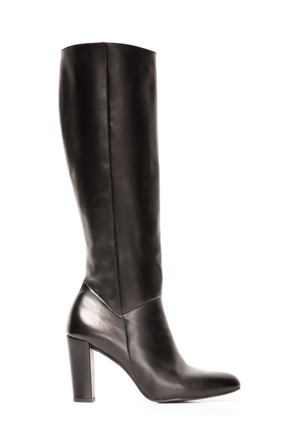 Black Leather Zip Knee High Boot