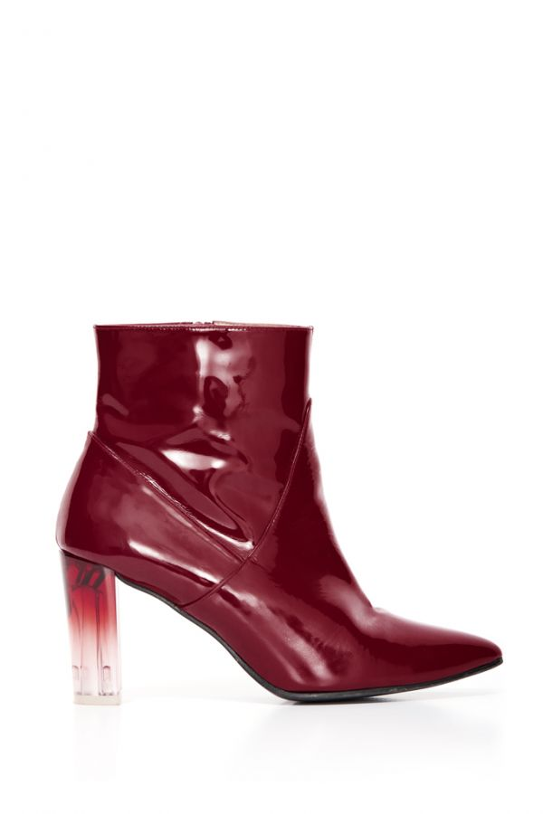 Burgundy Patent Leather Perspex Heel Ankle Boot