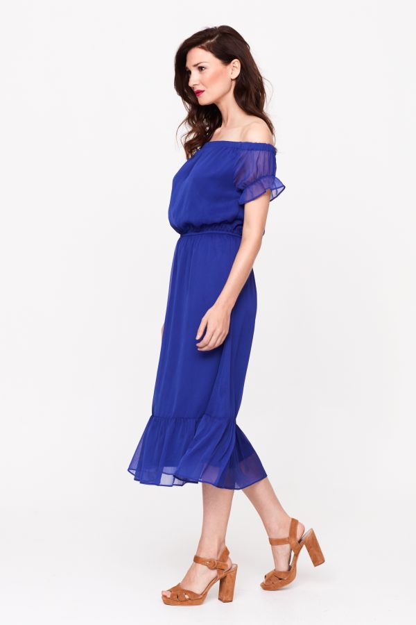 Blueberry Bardot Frill Hem Dress