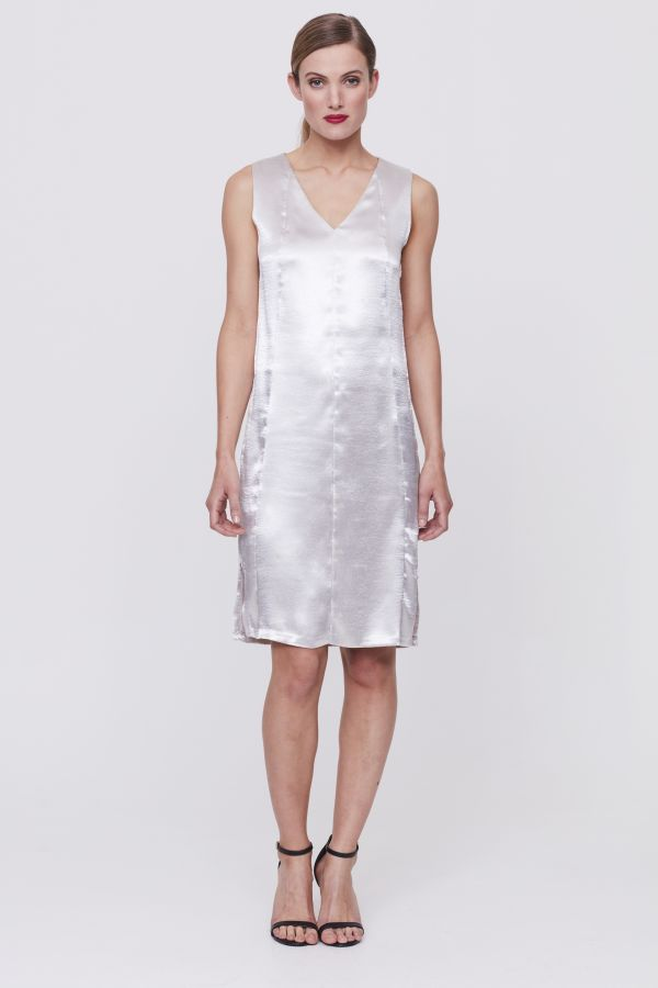 Silver Satin Shift Dress