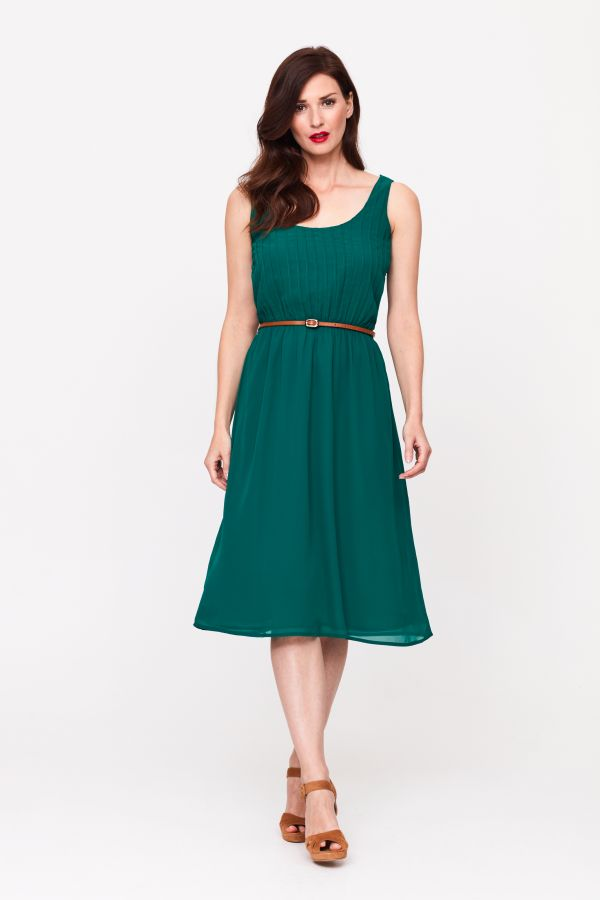 Green Pleated Front Midi Dress