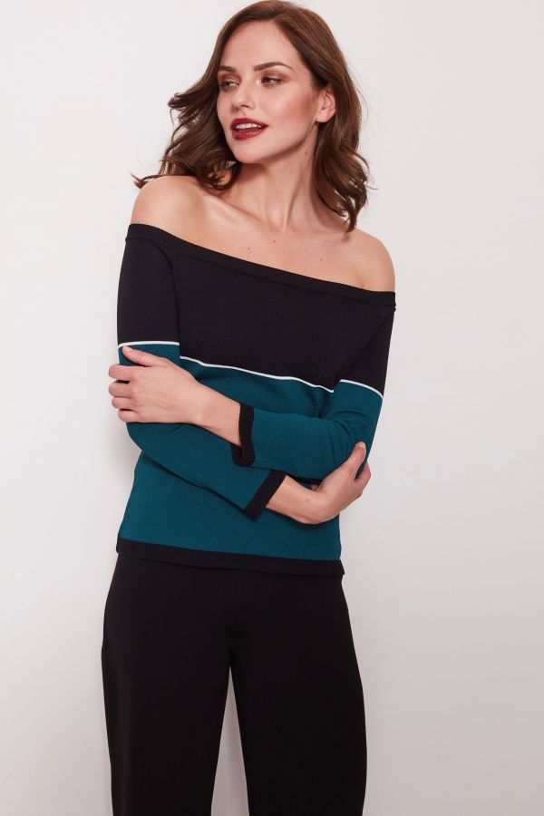 Black and Teal Bardot Jumper