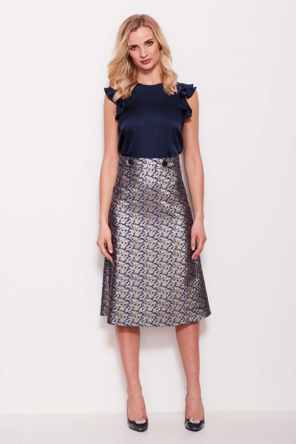 Metallic Silver Jacquard Skirt