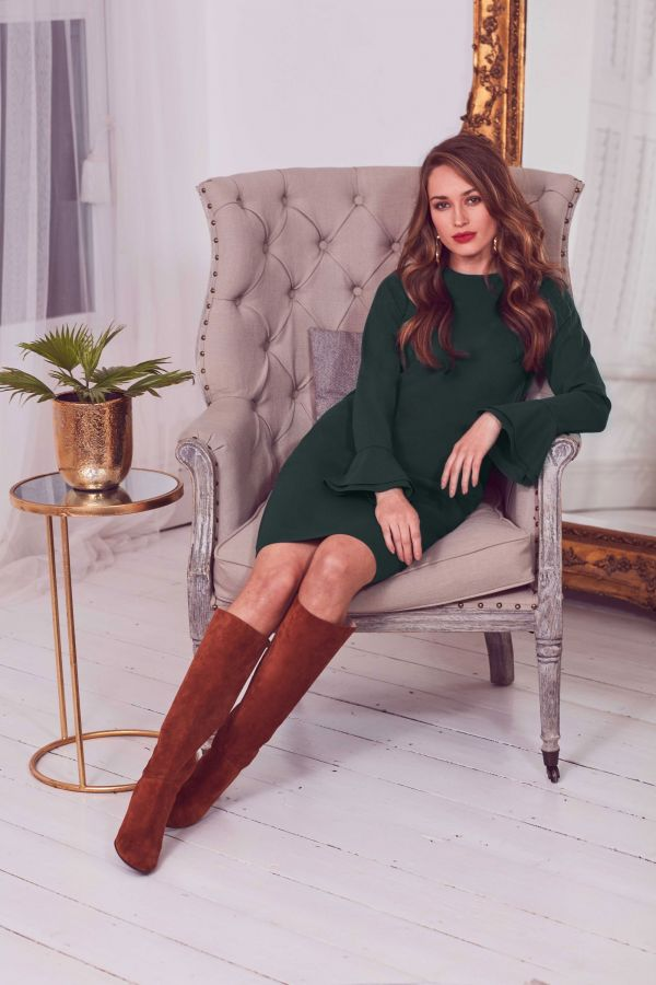 Forest Green Double Flute Sleeve Shift Dress