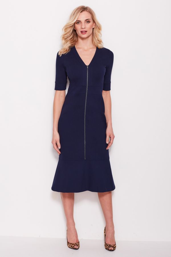 Navy Blue Zip Front Ponte Dress