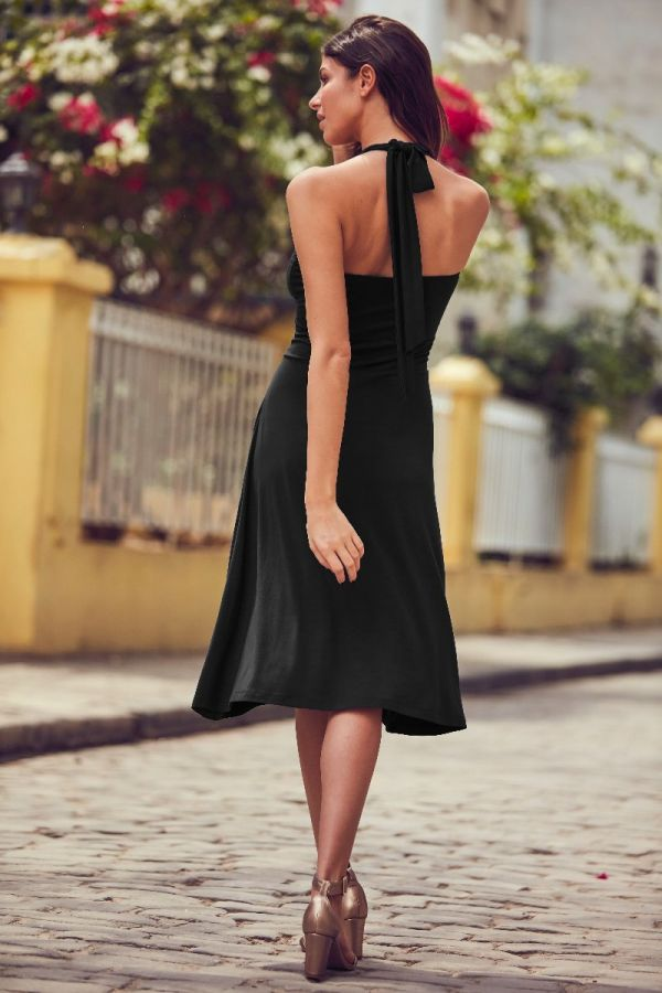 Black Cross Front Halter Neck Dress