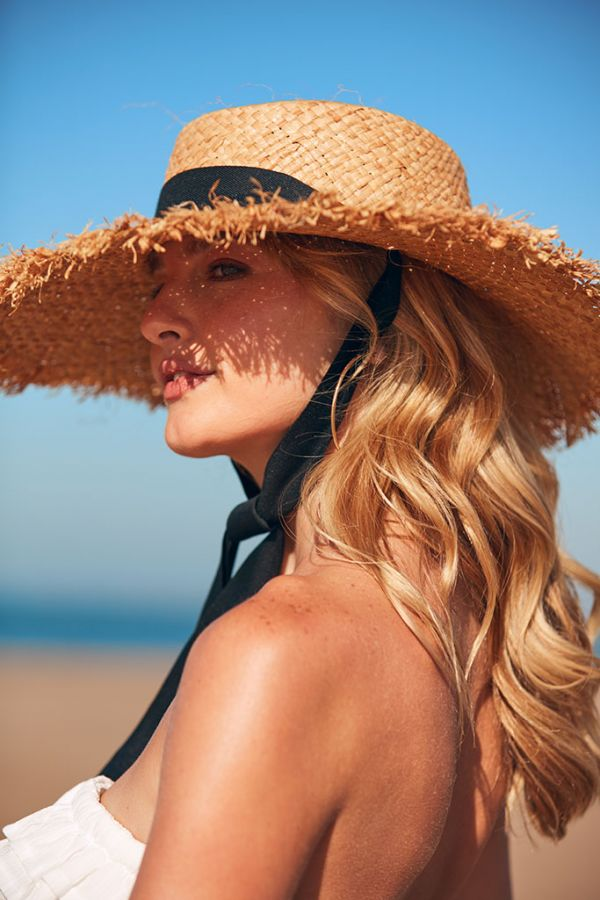 Natural Straw Fringed Boater Hat with Tie Neck