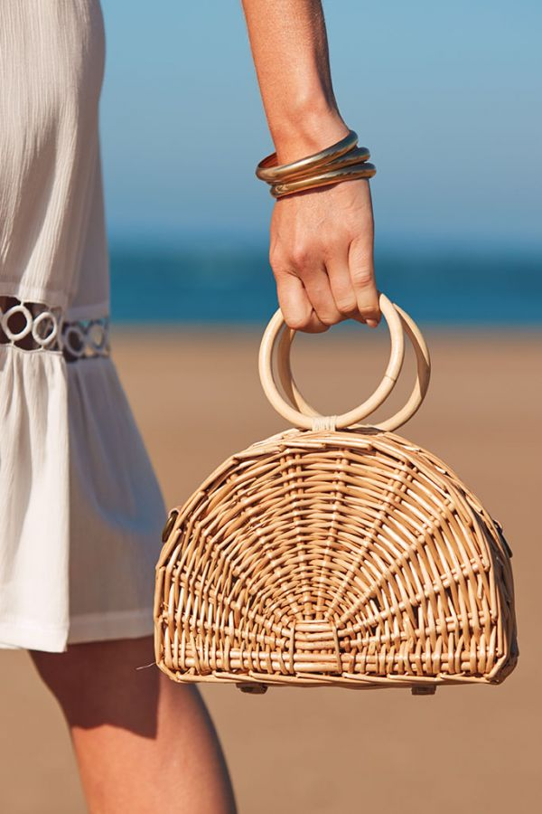 Natural Half Moon Woven Basket Bag