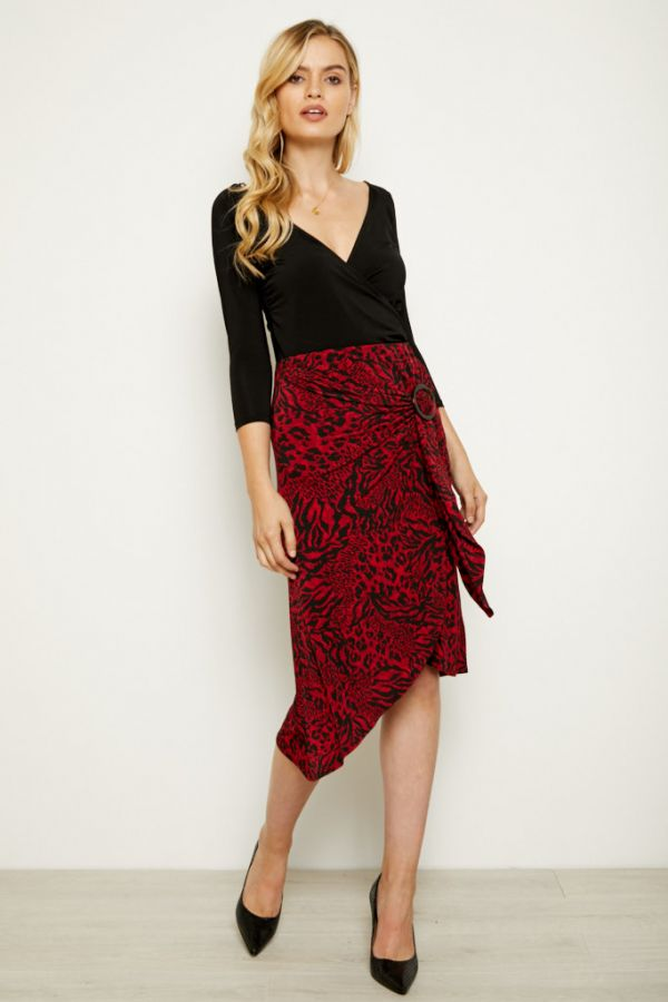 Red & Black Animal Print Buckle Detail Wrap Skirt
