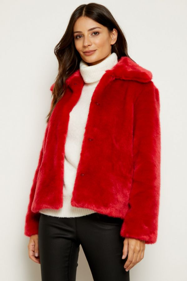 Red Faux Fur Cropped Jacket