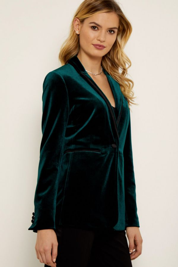 Green Velvet Satin Detail Blazer